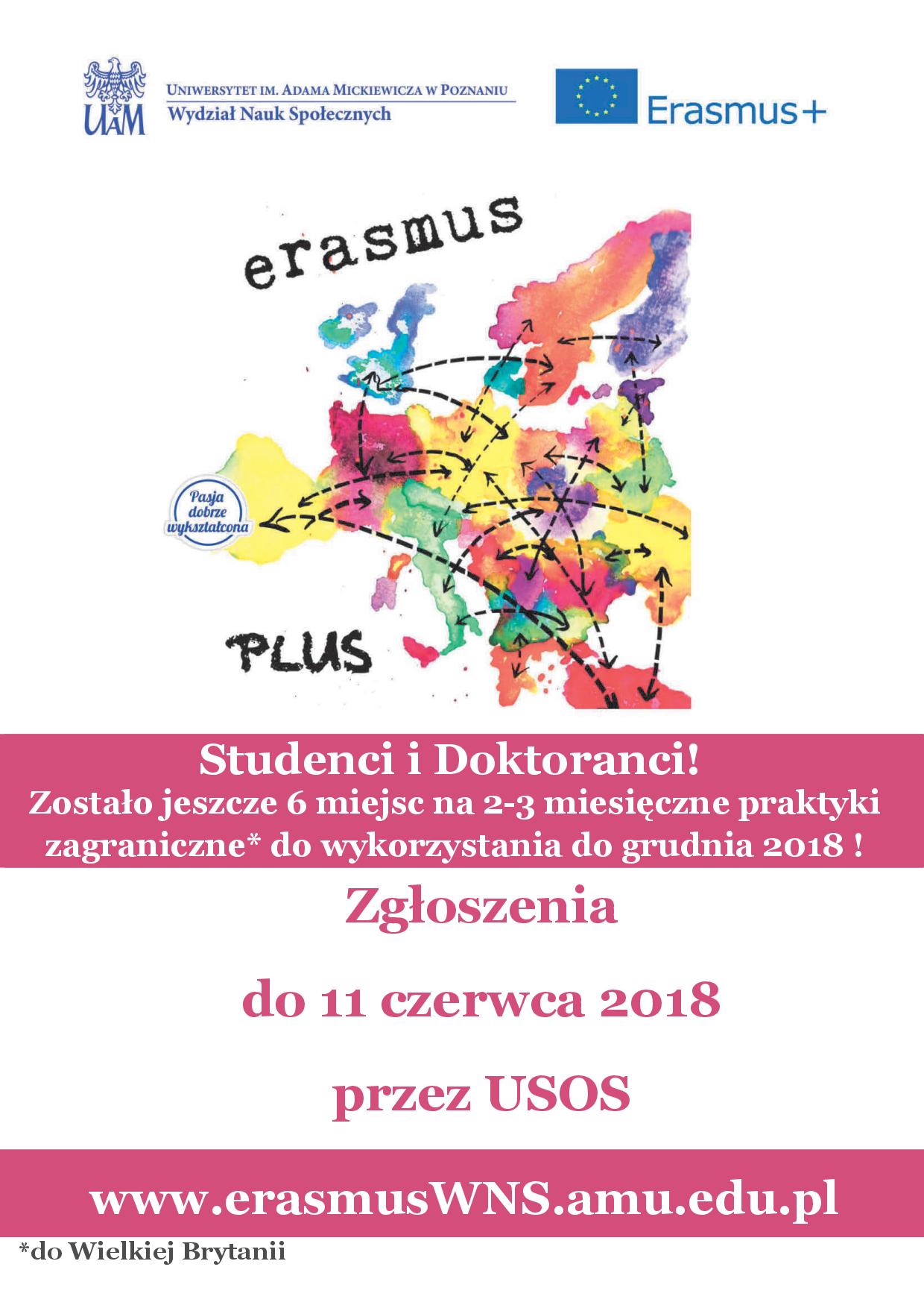 Dodatkowa rekrutacja na praktyki Erasmus